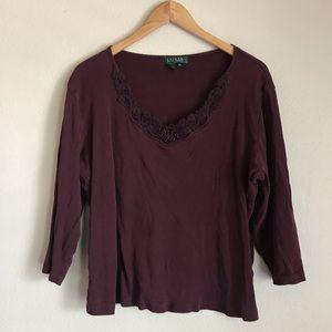 Size 2X Lauren Ralph Lauren Plum Shirt